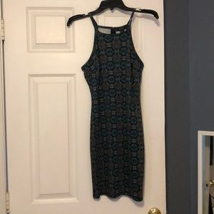 Green and blue spaghetti strap dress